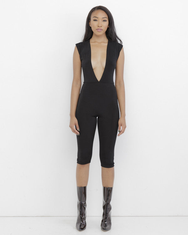 POOLSIDE SHAWTY Black Plunging Jumpsuit at FLYJANE | Knee Length Plunging Jumpsuit | Black Jumpsuit | Black Catsuit | Black Romper | black bodysuit