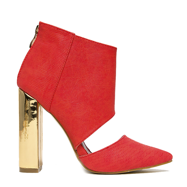 Red Kiss Bad Girl Cut Out Bootie in Red at FLYJANE