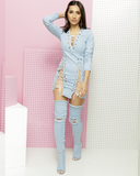 DOUBLE CROSSER Lace Up Denim Dress at FLYJANE | Light Denim Lace Up Denim Dress | Shop the #FADE Denim Shop for Streetstyle Denim Fashion at FLYJANE