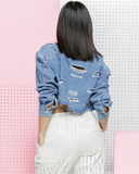 SLAYED and FRAYED Denim Collared Cut Off Crop Top Shirt at FLYJANE | Denim Crop Top | Denim Collared Shirt | Denim Trend for Spring 2017 | Streetstyle