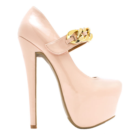 Shoe Republic LA Chain Reaction Mary Jane in Nude Patent at FLYJANE