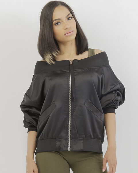 LET IT BOMB Off The Shoulder Satin Jacket in Black at FLYJANE | Off the Shoulder Satin Jacket in Black | Cute Clothes for Cute Girls | Satin Light Jacket