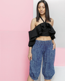 STONERS PARADISE Denim Harem Pants by the Fade Denim Shop at FLYJANE | Drop Crotch Stone Wash Denim Harem Pants | Streetstyle Fashion in the Fade Denim Shop