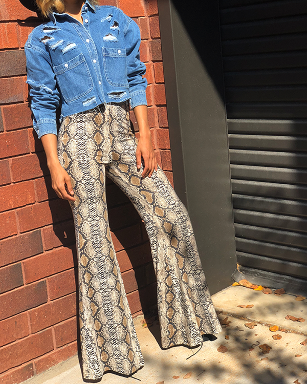 VENOM Snake Print Wide Leg Bell Bottom Pants at FLYJANE | Fall Fashion 2018 | Snake Print Trend | Pinterest | Snake Print Pants | Bell Bottoms | Snake Print Bell Bottoms for Fashion Forward Women