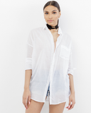 SORRY NOT SORRY LINEN BLOUSE - WHITE