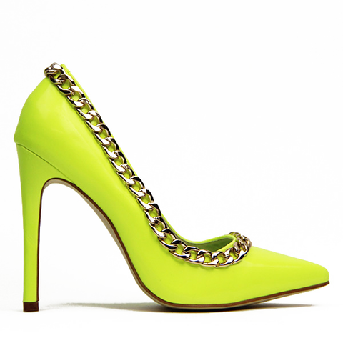 Red Kiss SO COCO Patent Pump in Neon Yellow at FLYJANE | Charm School Patent Pump at FLYJANE