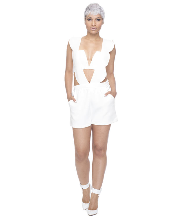 LOW RIDER Scalloped Romper in White at FLYJANE