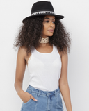 TILDEN Wool Wide Brim Fedora Hat in Black at FLYJANE | Black Fedora Hat | Wide Brim Flat Brim Fedora Hat | Black Hats | Cool Fedoras for Spring Fashion Street Style