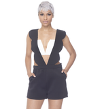 LOW RIDER Scalloped Romper in Black at FLYJANE
