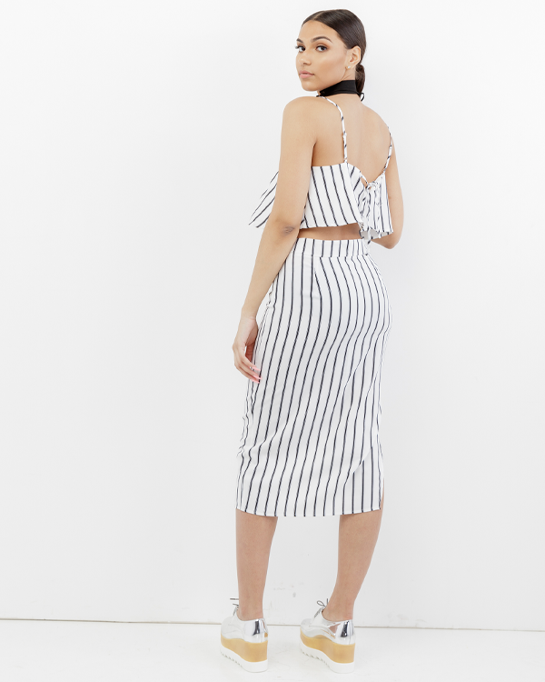 THE FIFTH PARALLEL STRIPED MIDI SKIRT SET