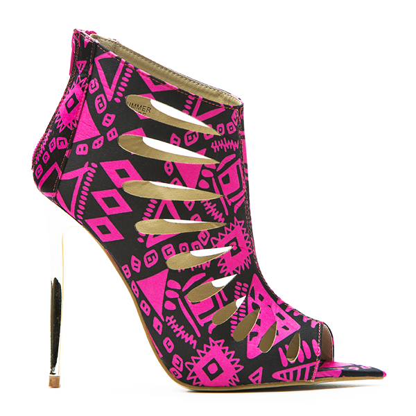 Red Kiss SUMMER DANCE Lasercut Bootie in Pink at FLYJANE