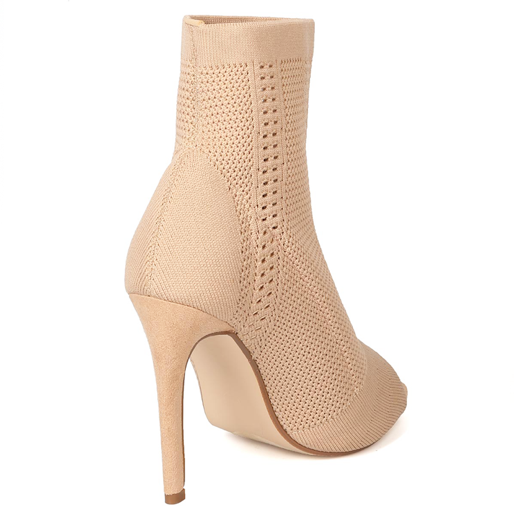 AMEI Knit Peep Toe Ankle Bootie in Nude at FLYJANE | Nude Knit Ankle Booties | Inspired by Vires Knit Ankle Bootie | Nude Booties | Cute Ankle Booties