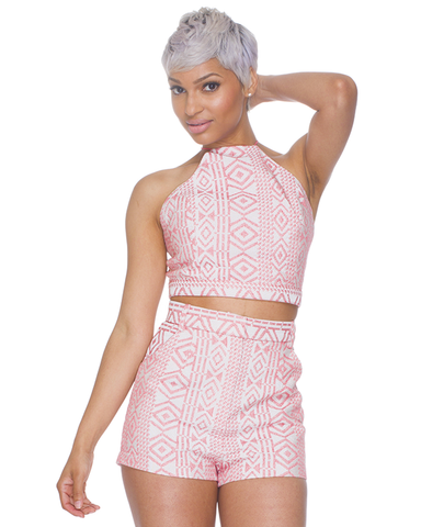 TRIBAL BEAT High Waist Shorts Set in Coral at FLYJANE