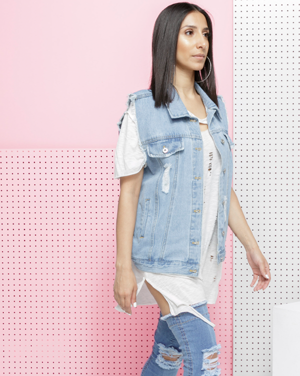 TOPANGA Distressed Cut Off Denim Vest at FLYJANE | Shop the FADE Denim Collection curated by The Loud Factory by FLYJANE | Oversized Jean Cut Off Denim Vest $39