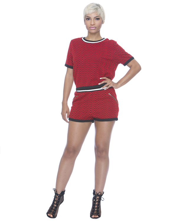 TRIADS 2PC Short Set in Red at FLYJANE
