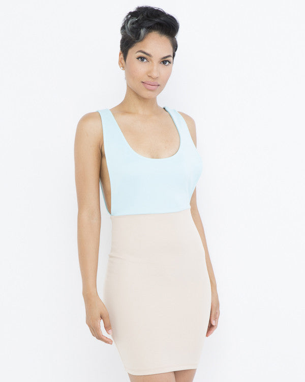 THE SHORE CLUB Bodycon MiniDress at FLYJANE | Two Toned Dress | Bodycon Dress | Nude Dress
