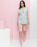 ALONZA Light Denim Cut Off Lace Up Tunic at FLYJANE | Oversized Cut Off White Lace Up Denim Tunic | Shop the FADE Denim Shop for Streetstyle Denim at FLYJANE