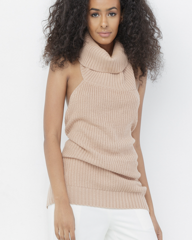 SPLIT WAYS Halter Turtleneck Sweater at FLYJANE | Nude Halter Sweater | Streetstyle Clothing for Spring 2017 | Spring Trends 2017