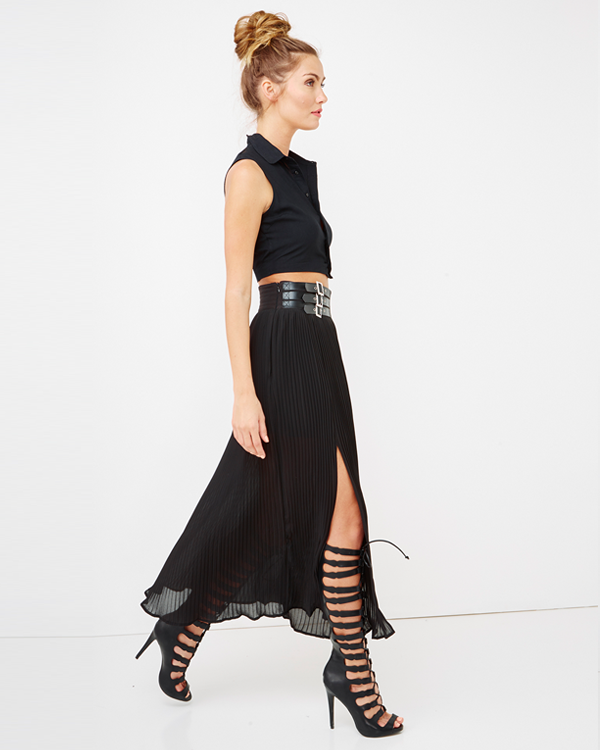 Endless Rose| ULTERIOR MOTIVE Chiffon Slit Maxi Skirt in Black at FLYJANE