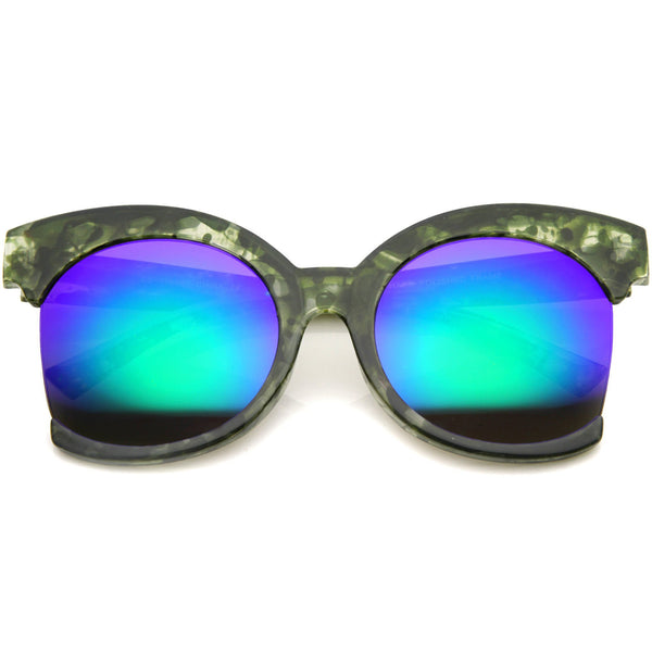AURI Oversized Side Cut Mirror Sunglasses in Green Mirror at FLYJANE | Revo Green Mirror Frame Sunglasses | Side Cut Round Frame Sunglasses | Fashion Sunnies