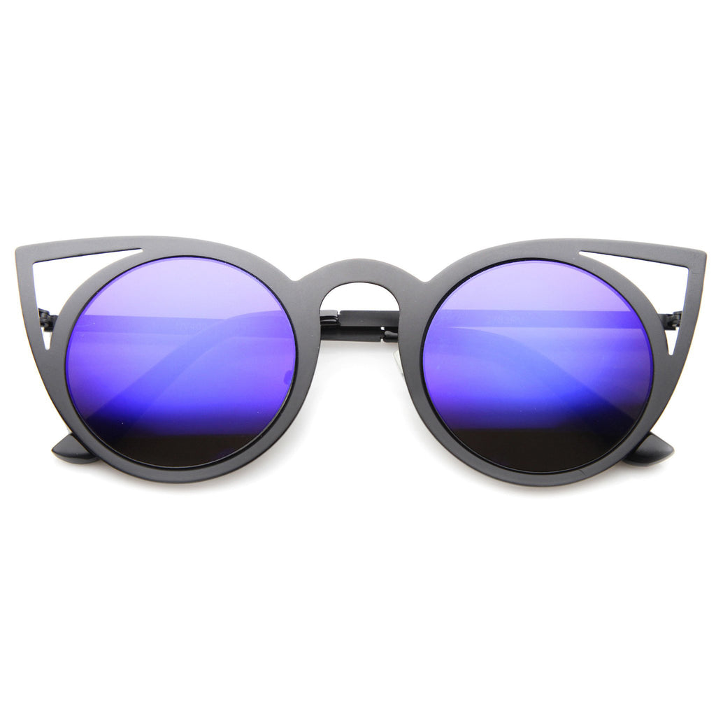 ARAGONA Black Frame Blue Mirror Cat Eye Sunglasses - FLYJANE | Laser Cut Blue Mirror Frames | Blue Revo Mirror Cat Eye Sunglasses | Fashion Sunglasses under $20
