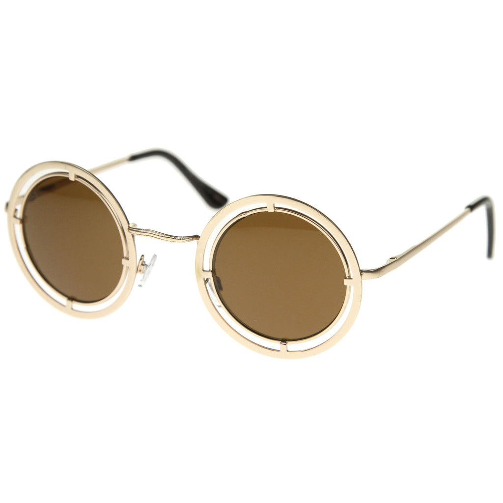 ALIN Dual Round Frame Steampunk Sunglasses at FLYJANE | Round Frames | Steampunk Sunglasses | Metal Sunnies | Vintage Sunglasses under $25