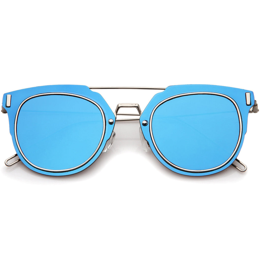 FIYAH WIRE FLAT FRAME MIRROR SUNGLASSES - BLUE
