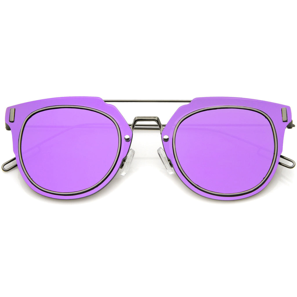 FIYAH WIRE Flat Frame Mirror Sunglasses in Purple Mirror at FLYJANE | Flat Frame Shades | Mirrored Lens Sunglasses | Revo Sunglasses | Dope Shades under $25