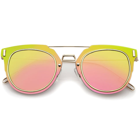 ICE DREAM Flat Frame Mirror Sunglasses in Pink Green Mirror at FLYJANE | Flat Frame Shades | Mirrored Lens Sunglasses | Revo Sunglasses | Dope Shades under $25