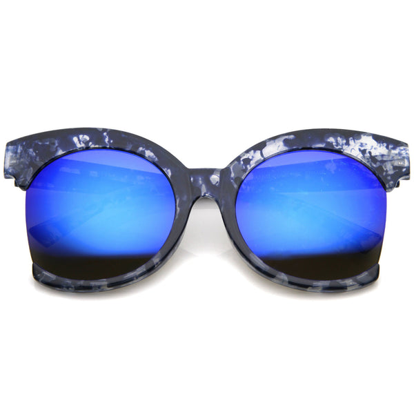 BLUE LAGOON Oversized Side Cut Tortoise Mirror Sunglasses in Blue Mirror at FLYJANE | Revo Blue Mirror Frame Sunglasses | Side Cut Round Frame Sunglasses | Fashion Sunnies