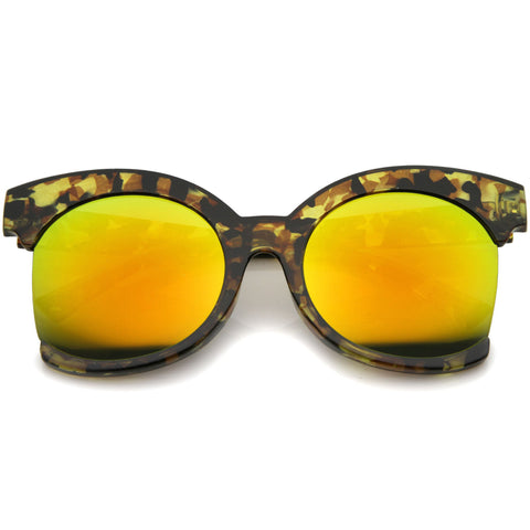 SOVA Oversized Side Cut Yellow Tortoise Mirror Sunglasses at FLYJANE | Revo Yellow Mirror Tortoise Frame Sunglasses | Side Cut Round Frame Sunglasses |