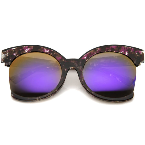 ELMA Oversized Side Cut Purple Tortoise Mirror Sunglasses at FLYJANE | Revo Purple Mirror Tortoise Frame Sunglasses | Side Cut Round Frame Sunglasses