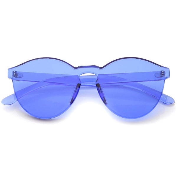 GET DAZED Colored Rimless Sunglasses in Blue at FLYJANE | Blue Lens Frames | Rimless Blue Sunglasses | Monoblock Blue Frames  | Fashion Frames under $50 |