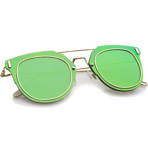 FIYAH WIRE Flat Frame Mirror Sunglasses in Green Mirror at FLYJANE | Flat Frame Shades | Mirrored Lens Sunglasses | Revo Sunglasses | Dope Shades under $25