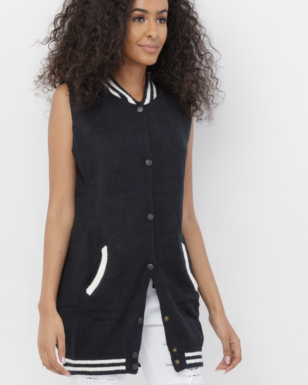 BOYS CLUB Varsity Sweater Vest at FLYJANE | Navy and White Varsity Letterman Sweater Vest | Sleeveless Lettermans Sweater | Street Style Contemporary Fashion at FLYJANE