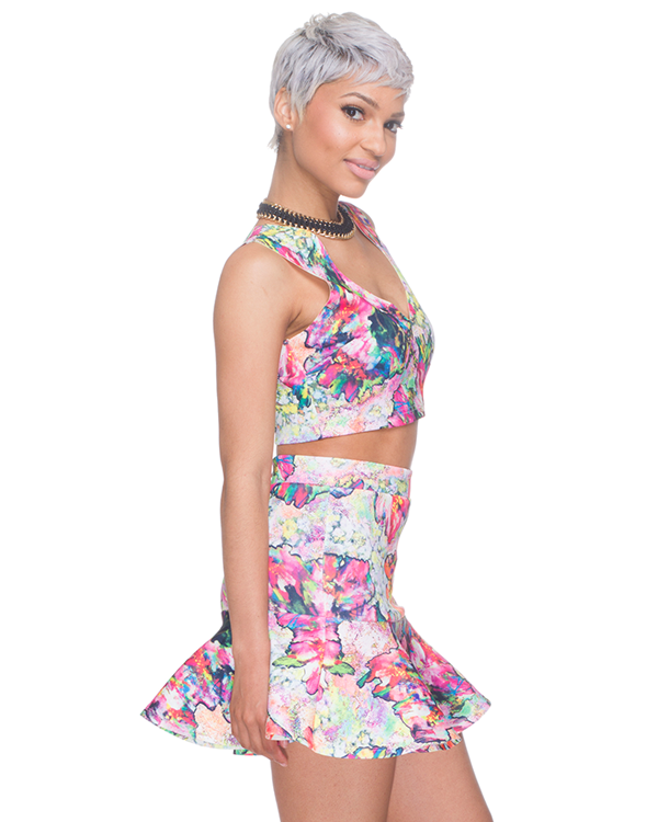 WATERCOLOR Skater Skirt Set in Pink at FLYJANE