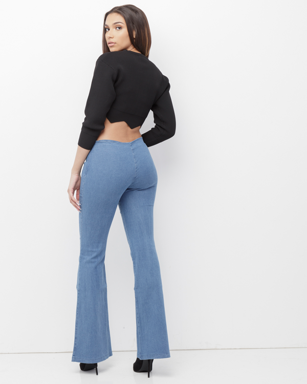 GENEVIEVE Bell Bottom Denim Jeans at FLYJANE | Wide Leg Denim Bellbottom Jeans Long Shorts | Cute Denim Jeans under $100 | Follow Us on Instagram at @FlyJane