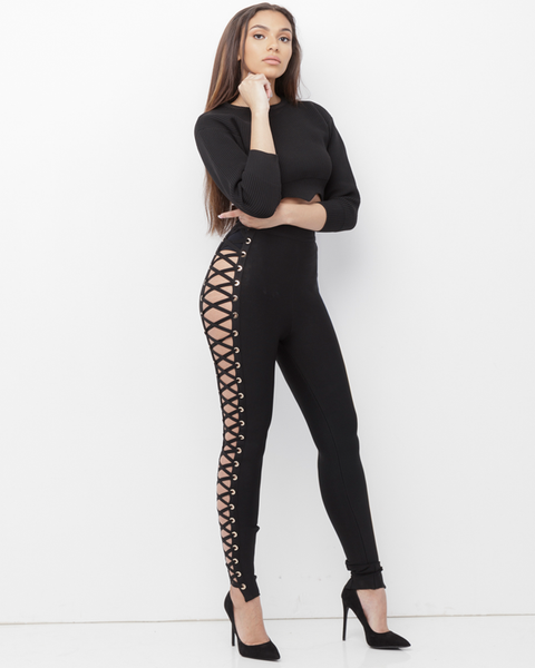 YETI High Waisted Lace Up Bandage Pants in Black at FLYJANE | Black Lace Up Bandage Pants | Lace Up Leggings | Black Criss Cross Bandage Pants Leggings
