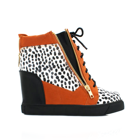 Shoe Republic LA ZOO Sneaker Wedge in Orange Cheetah at ShopFlyJane.com