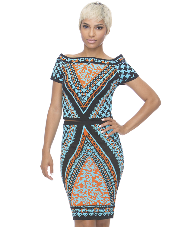 TRIBAL RUSH Midi 2 Piece Skirt Set at FLYJANE