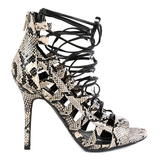 Wild Diva ADELE-67 Lace Up Caged Gladiator Sandals in Natural Snake at FLYJANE