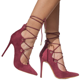 ALAIAH Lace Up Pump in Wine at FLYJANE | ALAIAH Pumps | Kylie and Kendall Jenner Shoe Collection | Heels | Wine Suede Pumps | Follow Us on Instagram @FlyJane