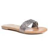 ARAMIS Metallic Flat Sandals in Gunmetal at FLYJANE | Cute Gunmetal Sandals | Gunmetal Metallic Slides | Metallic Sandals | Cute Sandals under $25 | Shop FLYJANE on Instagram
