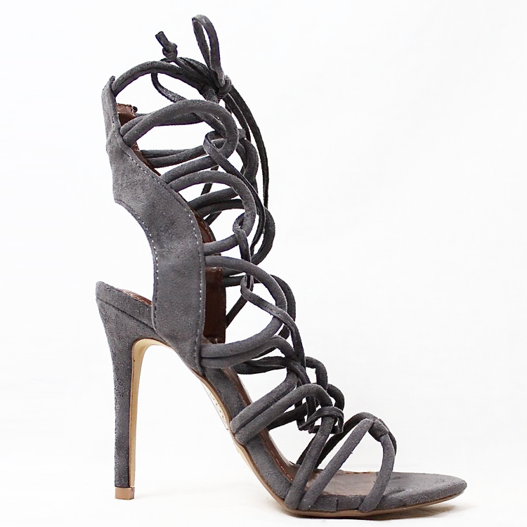 AMICA Lace Up Sandal in Grey at FLYJANE  | Sexy Lace Up Sandal | Zara Grey Strappy Sandals under $50 | Shoe Republic LA Keywest Key West Faux Suede Sandals