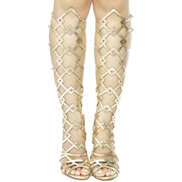ANCA Gladiator Geometric Cutout Buckled Heel in Gold at FLYJANE | Gold Gladiator Knee Sandals | Geometric Cutout Gladiator Sandals Heels High Heels | @FlyJane