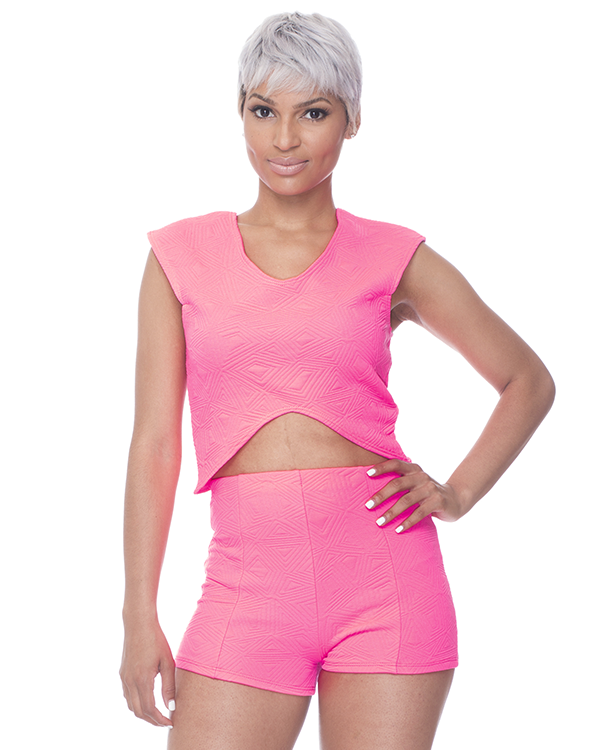POP LIFE Short Set in Neon Pink at FLYJANE