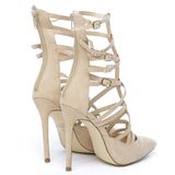 ARIELLE Suede Cutout Bootie in Nude at FLYJANE | Suede Nude Booties | Nude Heels | Nude Pumps | Kim Kardashian Nude Heels | Gisele-10 Nude Heels | Tan Heels
