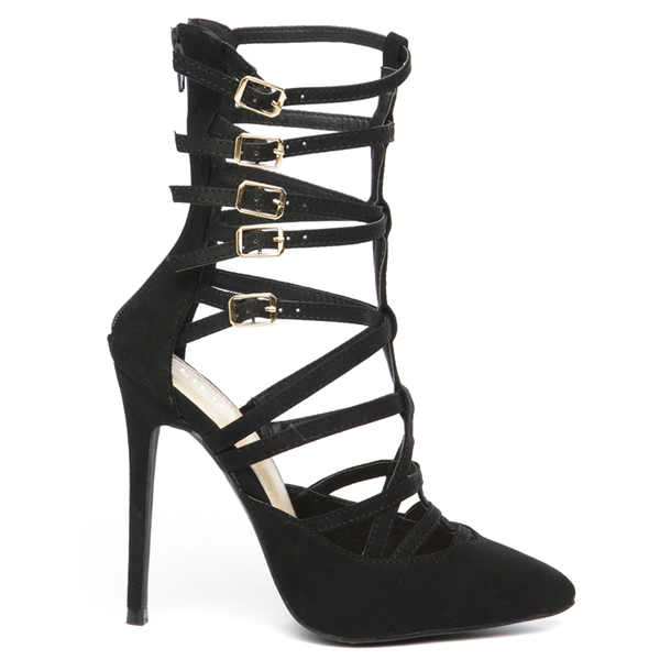 ARIELLE Suede Cutout Bootie in Black at FLYJANE | Suede Black Booties | Black Heels | Black Pumps | Kim Kardashian Black Heels | Gisele-10 Black Heels |