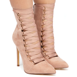 THE AVALON Lace Up Suede Bootie in Mauve at FLYJANE | Mauve Suede Bootie | Lace Up Bootie for Fall | Avalon Mauve Lace Up Ankle Boots | Cute Booties for Fall at...