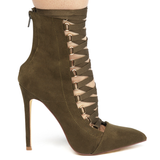 THE AVALON LACE UP BOOTIE - OLIVE